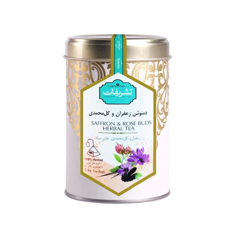 دمنوش کیسه ای زعفران و گل محمدی تشریفات (۱۴ عددی)